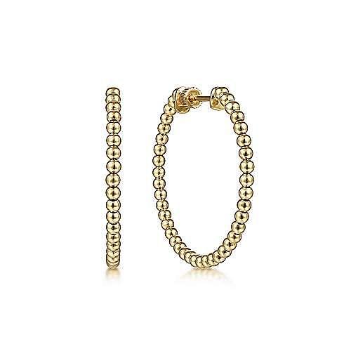 14K Yellow Gold 30mm Bujukan Classic Hoop Earrings