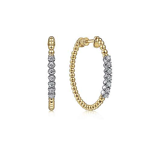 14K Yellow Gold 30mm Bujukan Diamond Hoop Earrings