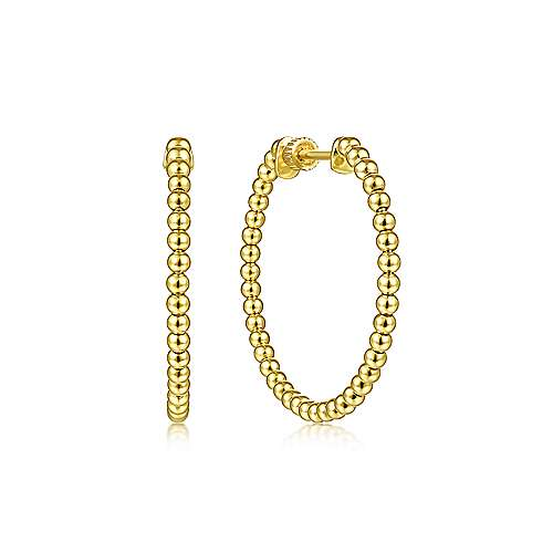 14K Yellow Gold 30mm Bujukan Hoop Earrings