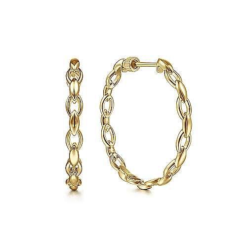 14K Yellow Gold 30mm Chain Pattern Hoop Earrings