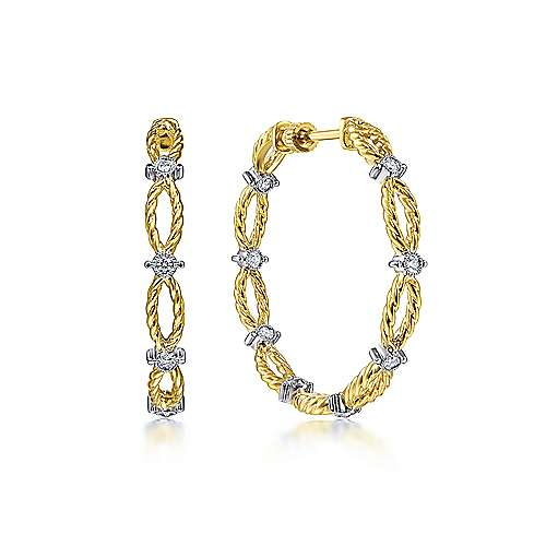 14K Yellow Gold 30mm Diamond and Twisted Rope Station Classic Hoop Earrings