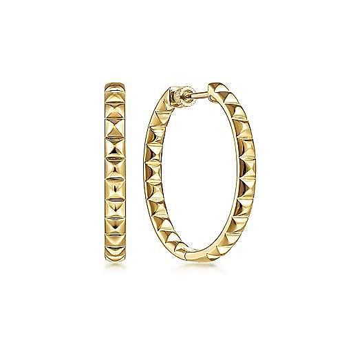 14K Yellow Gold 30mm Geo Cube Classic Hoop Earrings