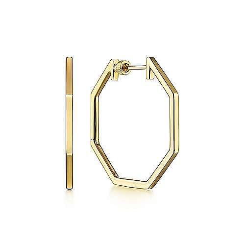 14K Yellow Gold 30mm Geometric Hoop Earrings