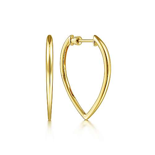 14K Yellow Gold 30mm Geometric Hoop Earrings