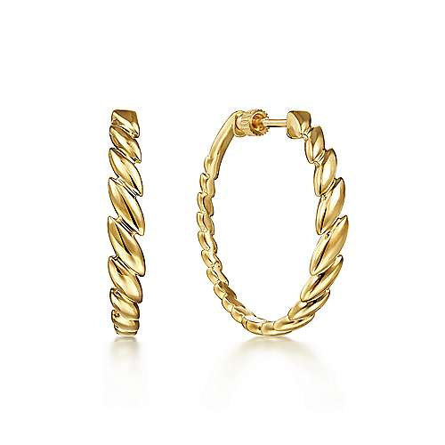 14K Yellow Gold 30mm Marquise Pattern Hoop Earrings