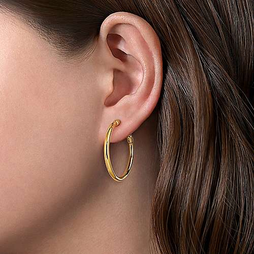 14K Yellow Gold 30mm Polished Classic Hoops Earrings