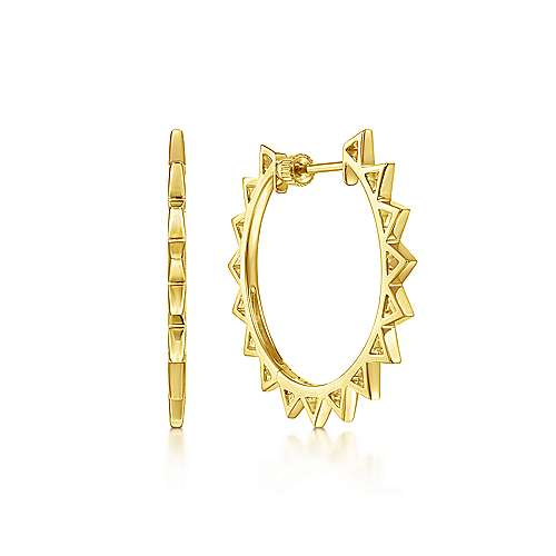 14K Yellow Gold 30mm Spikey Classic Hoop Earrings