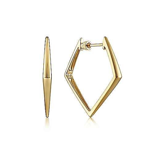 14K Yellow Gold 30mm Triangular Hoop Earrings