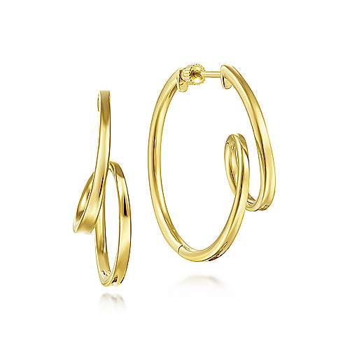 14K Yellow Gold 30mm Twisted Hoop Earrings