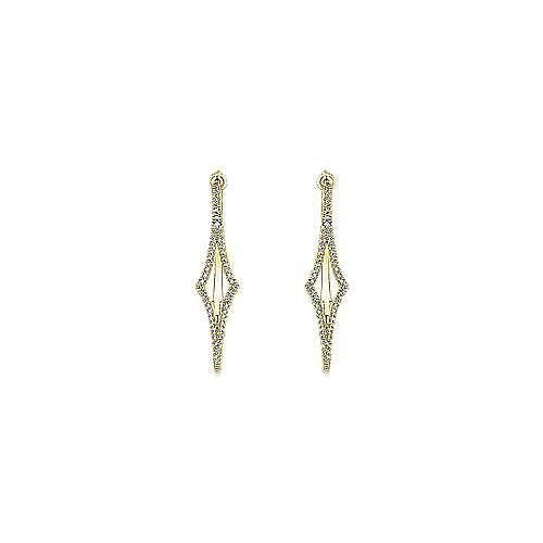 14K Yellow Gold 35mm Diamond Hoop Earrings