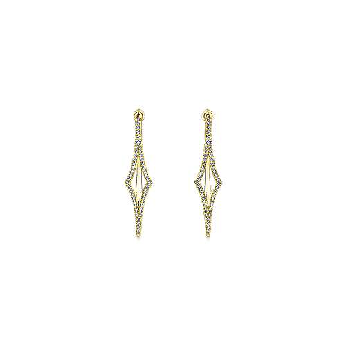 14K Yellow Gold 35mm Geometric Diamond Hoop Earrings