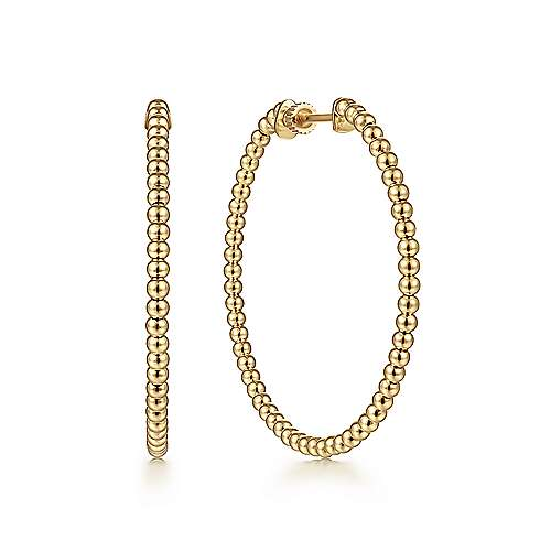 14K Yellow Gold 40mm Beaded Round Classic Hoop Earrings