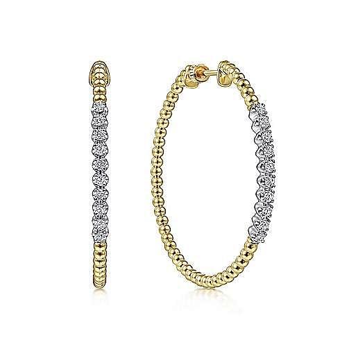 14K Yellow Gold 40mm Bujukan Diamond Hoop Earrings