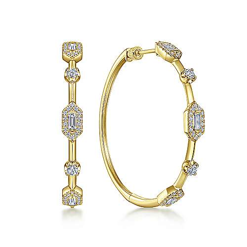 14K Yellow Gold 40mm Diamond Baguette and Round Station Hoop Earrings