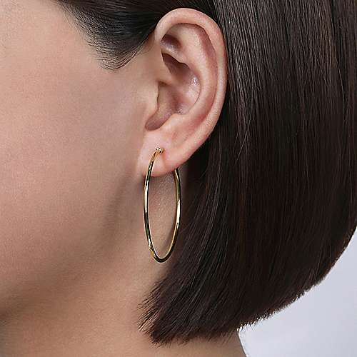 14K Yellow Gold 40mm Round Classic Hoop Earrings