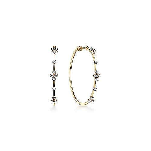 14K Yellow Gold 40mm Round Classic Prong Set Diamond Hoop Earrings