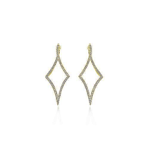 14K Yellow Gold 43mm Twisted Geometric Huggie Earrings