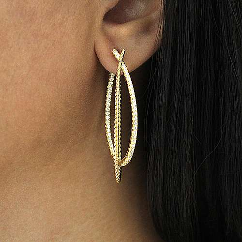 14K Yellow Gold 45MM Fashion Earrings
