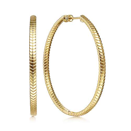 14K Yellow Gold 50MM Plain Classic Hoop Earrings