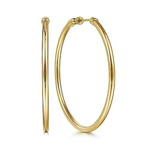 14K Yellow Gold 50MM Round Hoop Earrings