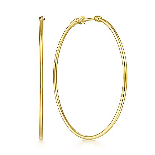 14K Yellow Gold 50mm Round Classic Hoop Earrings