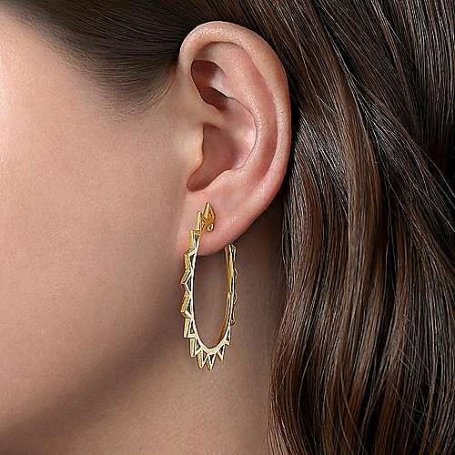 14K Yellow Gold 50mm Spike Classic Hoop Earrings