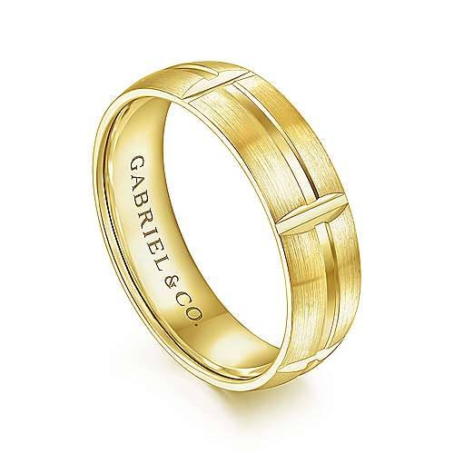 14K Yellow Gold 6mm -  Linear Engraved Stations Men's Wedding Band
