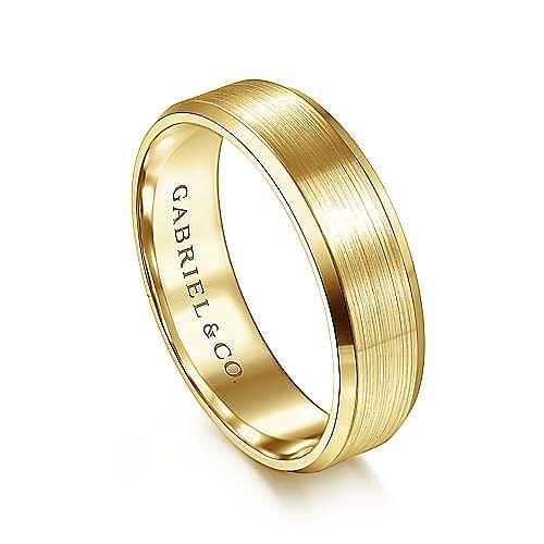 14K Yellow Gold 6mm -  Rounded Satin Center and Polished Beveled Edge Men's Wedding Band