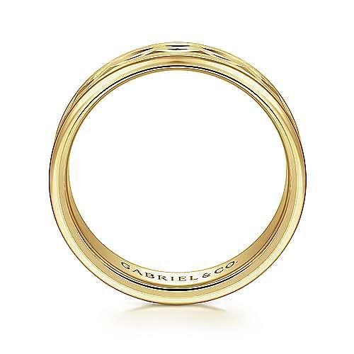 14K Yellow Gold 6mm - Center Diamond Cut Men's Wedding Band