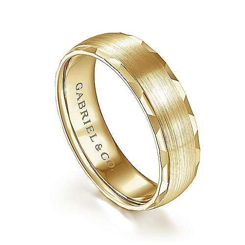 14K Yellow Gold 6mm - Diamond Coin Cut Edge Satin Finish Men's Wedding Band