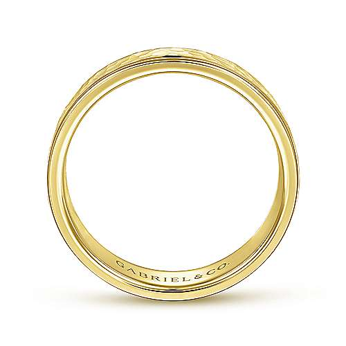 14K Yellow Gold 6mm - Hammered Center, Polished Edge Men's Wedding Band