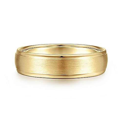 14K Yellow Gold 6mm - Rounded Satin Polished Edge Men's Wedding Band