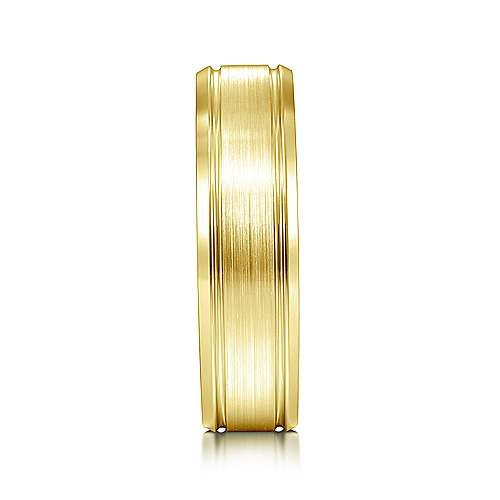 14K Yellow Gold 6mm - Satin Channel Polished Edge Men's Wedding Band