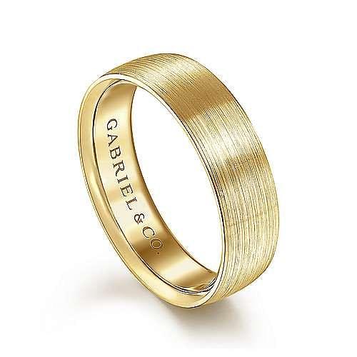 14K Yellow Gold 6mm - Satin Finish Men's Wedding Band
