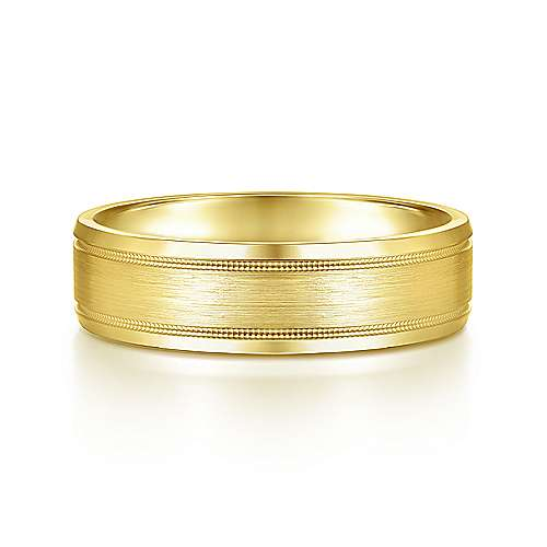 14K Yellow Gold 6mm - Satin Polish Center and Milgrain Edge Men's Wedding Band