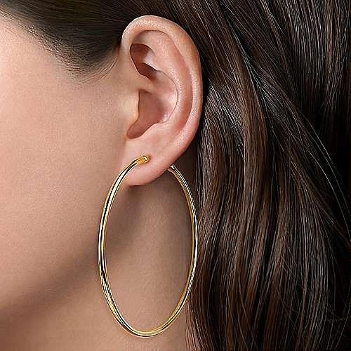 14K Yellow Gold 70 mm Classic Hoop Earrings