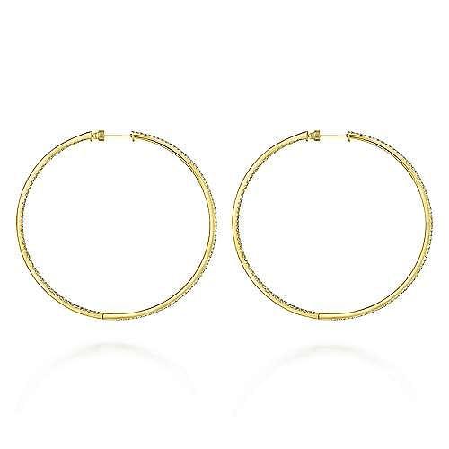 14K Yellow Gold 70mm Classic Diamond Hoop Earrings