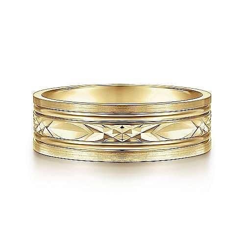 14K Yellow Gold 7mm - Diamond Cut Center Men's Wedding Band