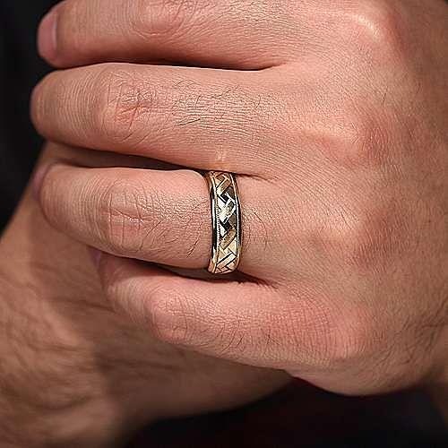 14k Yellow Gold 7mm Engraved Woven Men S Wedding Band Mbh0166 70y4jjj Gabriel Co