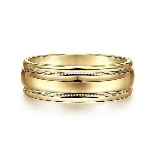 14K Yellow Gold 7mm - Raised Center Milgrain Edge Men's Wedding Band