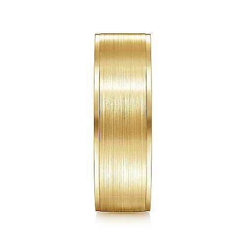 14K Yellow Gold 7mm - Satin Finish and Polished Edge Men's Wedding Band