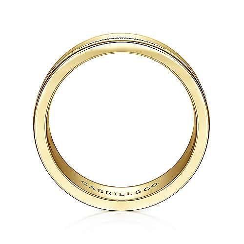 14K Yellow Gold 7mm - Satin Milgrain Channel Men's Wedding Band