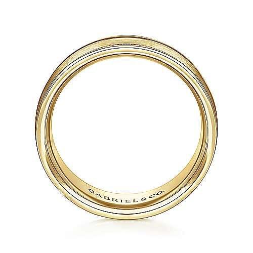 14K Yellow Gold 7mm - Satin Milgrain Channel Polished Edge Men's Wedding Band