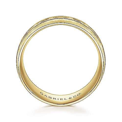 14K Yellow Gold 8mm - Engraved Center Pattern, Milgrain Channel Men's Wedding Band
