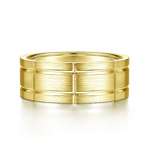 14K Yellow Gold 8mm - Grooved Elongated Checkered Pattern Men's Wedding Band