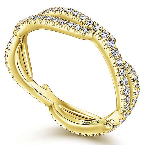 14K Yellow Gold Abstract Twisted Diamond Eternity Ring