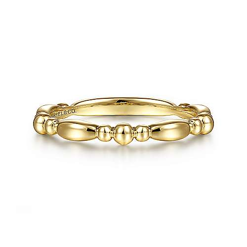 14K Yellow Gold Alternating Bar and Bujukan Bead Stackable Ring