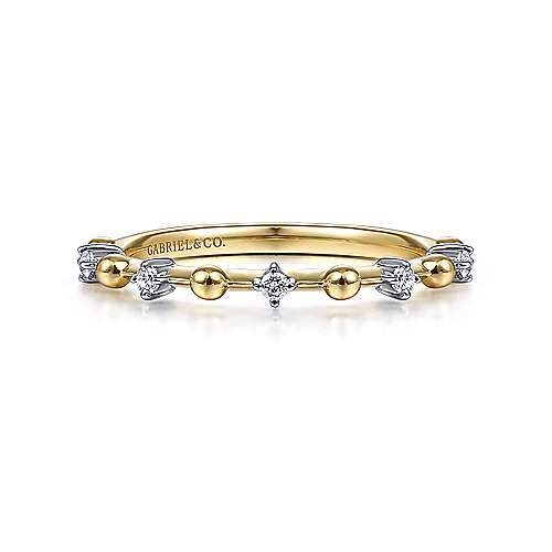 14K Yellow Gold Alternating Diamond and Bujukan Ball Ring