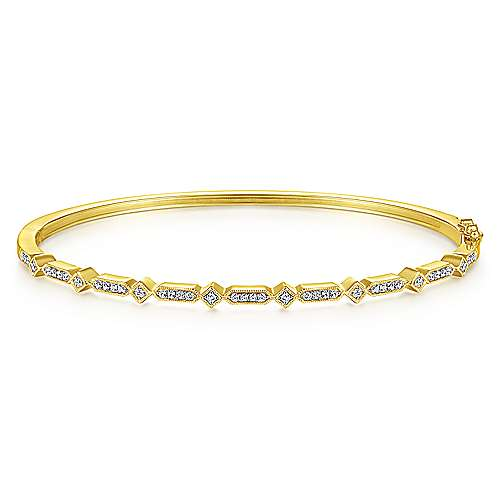 14K Yellow Gold Alternating Geometric Stations Diamond Bangle