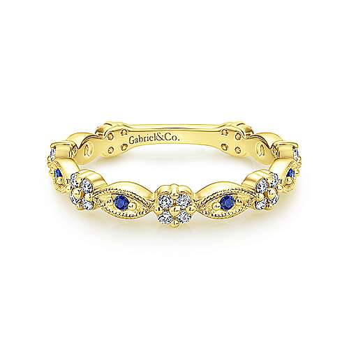 14K Yellow Gold Alternating Sapphire and Diamond Station Stackable Ring